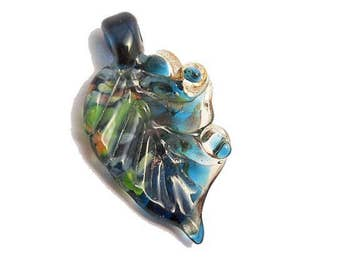 Dark blue leaf glass necklace, stylized leaf focal bead pendant, lampwork glass bead, organic orphan glass bead, SRAJD, glassbead