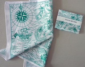 Tropical Island Treasure Map Hankie screenprinted cotton handkerchief