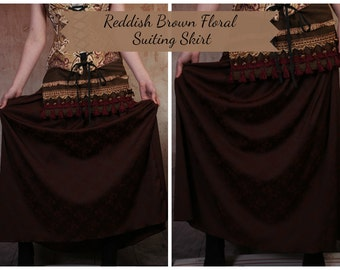 Reddish Brown Floral Suiting Skirt with Free Skirt Hikes