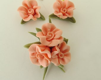 Coral Cold Porcelain Floral Pin and Earring Set Gift for Her