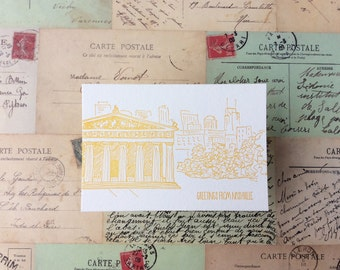 Nashville - five letterpress postcards