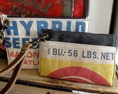 GLF Seed - Malone Iowa : Wristlet Wallets - Set of 2  - Americana Canvas Leather Handbag- vintage fabric.. Selina Vaughan