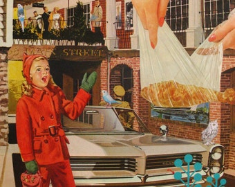 SALE-Original Collage on Paper-Girl Singing & Fried Chicken-More!