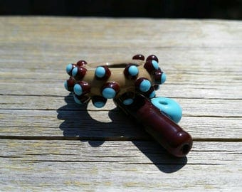 Handmade lampwork glass bead Toggle Set by JudyDalyReganti - Turquoise, Taupe and Chocolate Brown