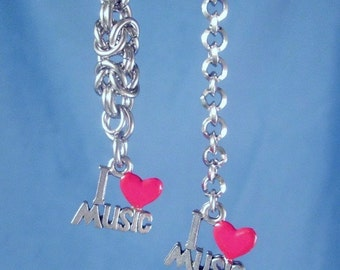 I Love Music Chains & Charms Earrings Fun Jewelry Stainless Steel Byzantine Chainmaille or Rolo Chain Steel or Sterling Ear Wires
