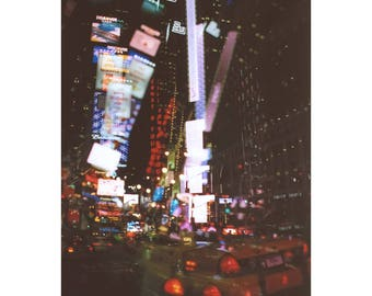 silent city neon: nyc photography. street photography. times square photo. new york city art. surreal photo. multiple exposure. neon lights.