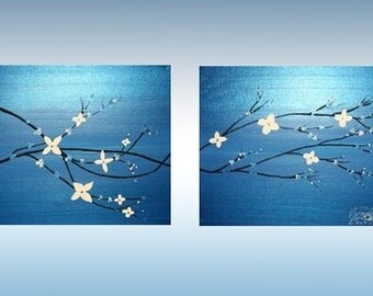 ORIGINAL Abstract Art on Canvas 2 Piece Set Blue Metallic Nature Tree Branches Zen Modern Flowers Contemporary Made To Order