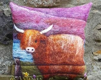 Highland Cow Cushion Decorative Throw Pillow