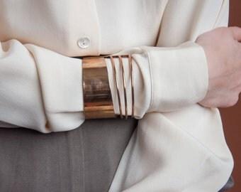 gold modernist cuff / minimalist cuff bracelet / 1416a
