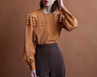 dark mustard gold oversized pleated blouse / s / m / 2208t / B18