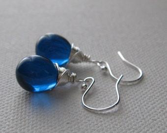 Blue Drop Earrings. Indicolite Teardrop Earrings. Briolette Earrings. Wire Warpped Sterling Silver Earrings. Blue Fashion Earrings UK Seller