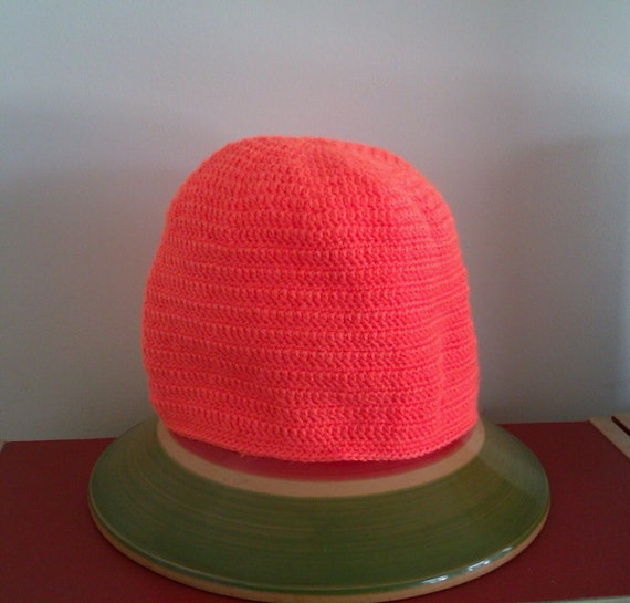 Vivid Orange Crochet Beanie Hat - visibility aid for dark winter walking / jogging / running