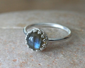 Labradorite or Lapis Lazuli Ring in Sterling Silver, Gallery Princess Bezel, Stacking Ring, Silver Gemstone Ring, Size 2 to 15, Womens Ring