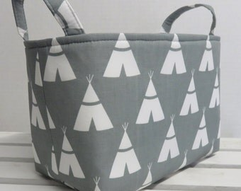 Storage and Organization  - White TeePees on Gray - Fabric Organizer Bin Storage Container Basket
