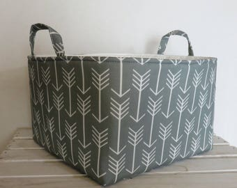 READY TO SHIP - Large Diaper Caddy - Storage Bin Basket Container Organizer with divider - White Arrows on Gray Fabric