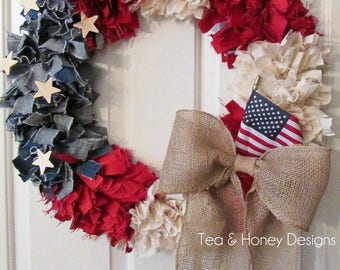 "Patriotic Wreath, 22"" July 4th Rag Wreath, Americana, Rustic Shabby Decor Round"