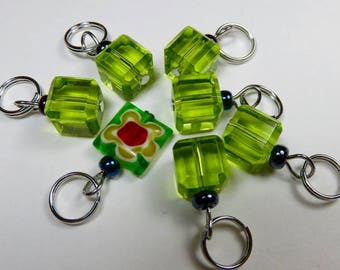 Hand Made Stitch Markers -- Crystal Cubes -- Chartreuse Green