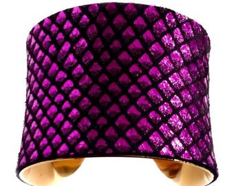 Purple Dragon Scale Leather Cuff Bracelet - by UNEARTHED