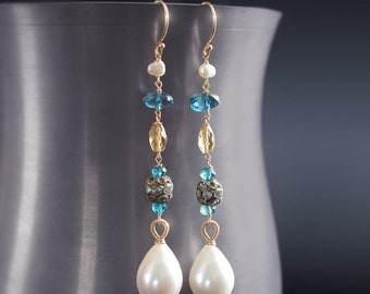 Valentines Day Sale - Custom Made to Order - 14K Solid Gold Dangle Pearl and London Blue Topaz Earrings