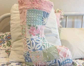 Large Pink Vintage Patchwork Chenille Christmas Stocking shabby Cottage