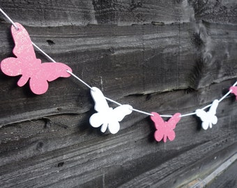 Butterfly garland / banner pink & white glitter wood decoration, wedding, Spring Summer party decor