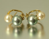 Vintage/ estate 1980s gold over sterling silver and costume pearl stud earrings - jewelry jewellery UK seller