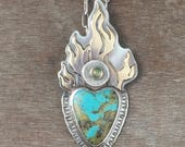 Turquoise and opal Sacred heart necklace - tribal heart necklace - boho jewelry - heart jewelry - bohemian jewelry -flaming heart necklace