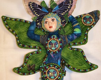 OOAK Butterfly Dreams beaded FAIRY cloth art doll 12 in. tall Artist Original Fantasy