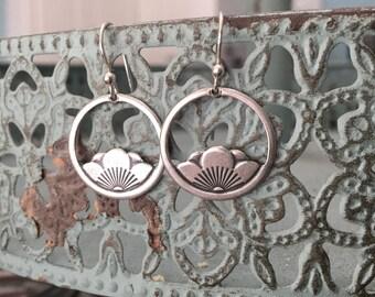 Zen Sterling Silver Lotus Blossom Flower Charm Earrings French Earwire Yoga jewelry