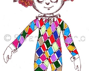 ON SALE Paper Digital sheet Printable Harlequin Carnival-scrapbooking-Download and print-300 DPI