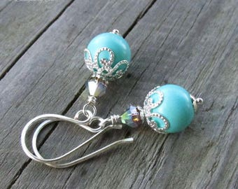 Turquoise Pearl & Crystal Earrings, Handmade Silver Classic Hook Earwires, Swarovski AB Satin Crystals