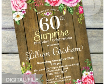 "Surprise 60th Birthday Invitation Chalkboard Watercolor Rose Floral Flowers Party Rustic Wood Style - DIGITAL Printable Invite - 5"" x 7"""