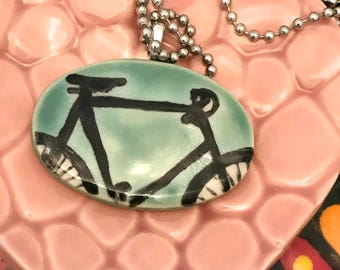 Pendant Necklace Bike on Jade for Her Stoneware Ceramic Great Gift with Chain Ready to Ship PNT0023