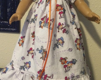 Flannel Nightgown for 18 inch Dolls Softball - Clothing