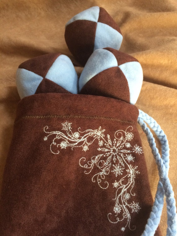 105g - 3 SOFT JUGGLING BALLS With Embroidered Snowflake Bag - Dark Brown and Powder Blue