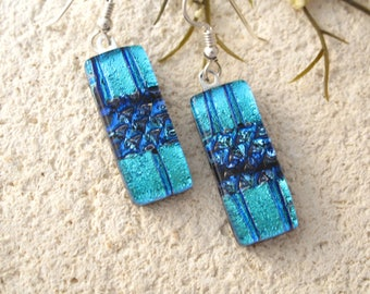 Blue Earrings, Dichroic Earrings, Glass Earrings, Glass Jewelry, Dichroic Glass Jewelry, Dangle Drop Earrings,Sterling Silver, 042917e104