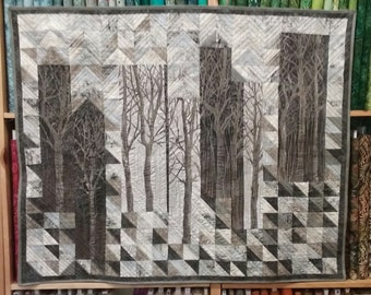 "Pattern Only: ""Silent Woods"" 42X52"" Quilted Wall Hanging PDF Suitable for advanced beginners and beyond"