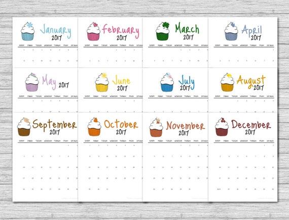 2017 Cupcake Calendar