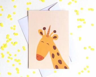 Unicorn giraffe postcard, 4.1''x5.8''
