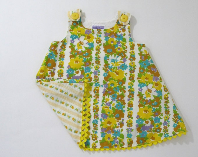 Vintage Floral Stripe Girls Dress, Girls Pinafore, Girls Sundress, Toddler Dress, Baby Dress, Yellow Dress, Floral Dress,  12 - 18 Months