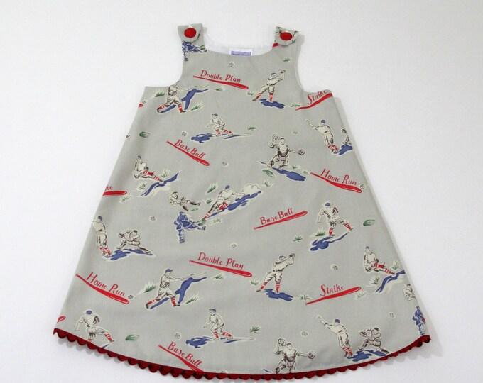 Girls' Baseball Dress, American League Baseball Home Run Dress,  Sports Dress, Baby Dress, Toddler Dress,  Sizes Newborn to Girls Size 6