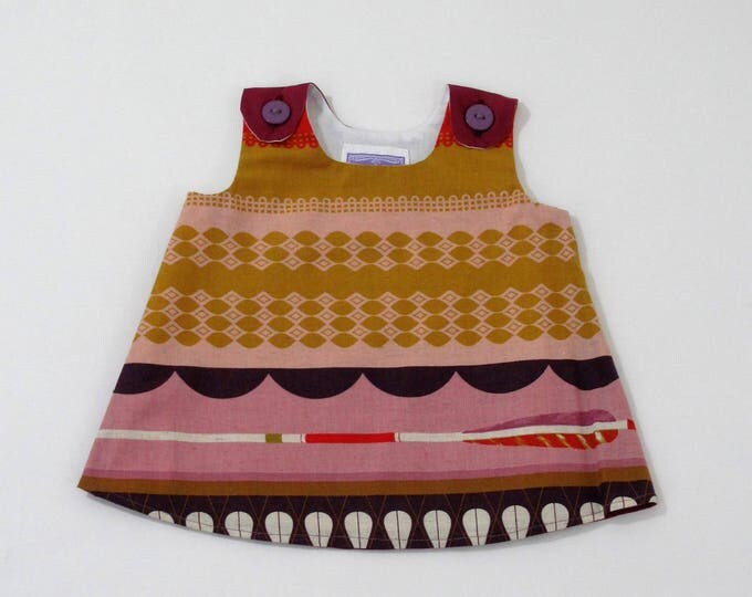 Little Arrow Berry & Gold Newborn Girls' Dress, Baby Dress, Baby Shower Gift, Newborn Layette, Take Home Outfit,  Size Newborn