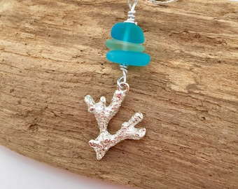 Sea glass coral necklace ~ beach glass necklace ~ sterling Silver coral necklace ~ hawaiian jewelry ~ beach wedding necklace ~ gifts ~ boho