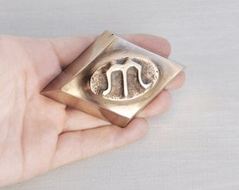 Vintage Solid Brass Paperweight - cast metal diamond shape with letter M or W - desk accessory father's day gift for men