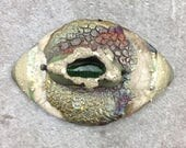 Dragon's Eye Raku Ceramic Cabochon Raku Jewelry Supply Handmade by MAKUstudio