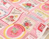 Japanese Fabric Atsuko Matsuyama Fruit Label  - pink - 50cm