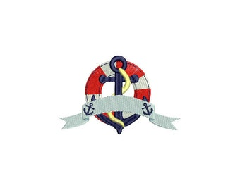 Retro Vintage Anchor & Buoy Banner Nautical Machine Embroidery File design 5x7inch hoop