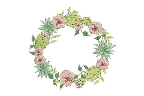 Machine embroidery boho cactus flower wreath