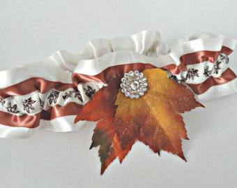 Ivory and Copper Jeweled Glittering Fall Leaves Garter•Fall Wedding•Autumn Leaves•Fall Bride•Bridal Accessories•Toss•Keepsake•Fall Foliage