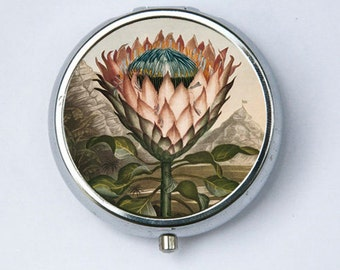 Artichoke Protea Plant PILL CASE pillbox holder botanical